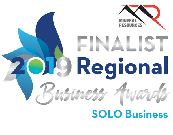 Mineral Resources Finalist 2019 Regional Business Awards Solo Business